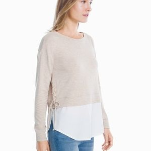 WHBM Long Sleeve Lace Up Sweatshirt Poplin Twofer